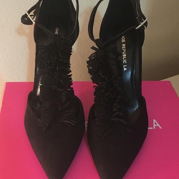 354ed95d307 Black Faux Suede Fringe Detailed T Strap Heels